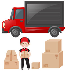 Set of mailman and delivery service vector
