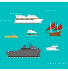 Ship and boats vector image vector image