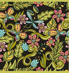 Summer seamless pattern leaves butterflies vector