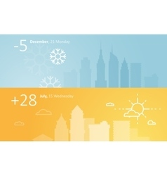 Weather widgets template winter and summer in city vector