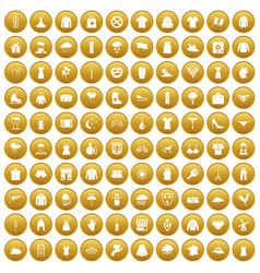100 clothing icons set gold vector
