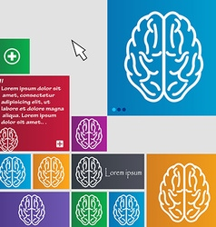 Brain icon sign buttons modern interface website vector