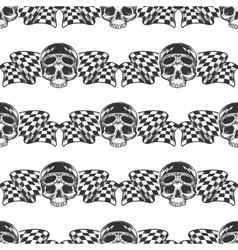 Biker rider skull and flags pattern vector