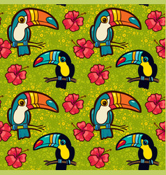 Toucan and hibiscus tropical green seamless vector