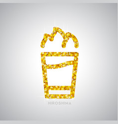 Golden cocktail flat icon hiroshima vector