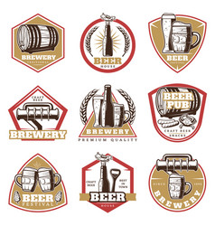 colorful vintage beer emblems set vector image