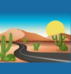 Desert ground with empty road vector