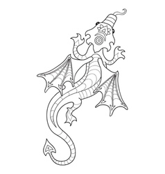 Drawing a dragon in cartoon style vector