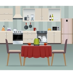 Kitchen interior poster vector