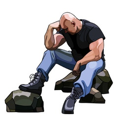 Sad big bald man sitting on the rocks vector