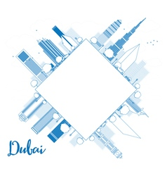 Dubai city skyline with blue skyscrapers vector