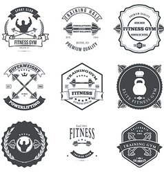 Set of fitness and bodybuilding labels design vector