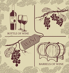 Set symbols on the theme of grapes red wine and vector