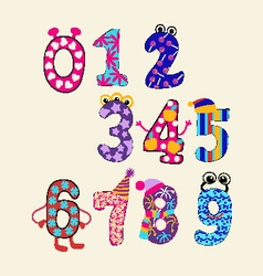 Cute numbers set colorful set cute numbers vector