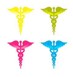 Color caduceus symbols vector