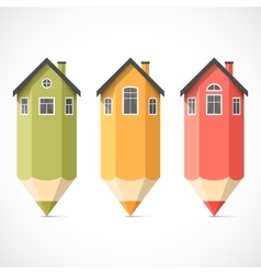 Set of colorful pencil houses vector