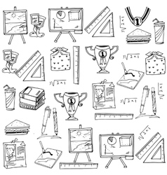 Element school doodles with hand draw vector