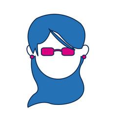 Avatar female face wear fuchsia glasses vector