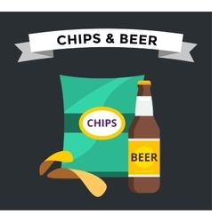 beer snacks chips pack isolated vector image