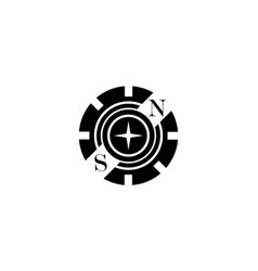 Black logo in the form of a partial gear with vector