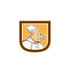 Boar chef cook shield cartoon vector