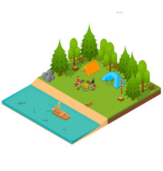 Camping isometric view vector