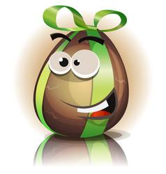 Cartoon chocolate easter egg character vector