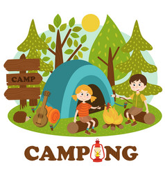 children near bonfire in summer camp vector image