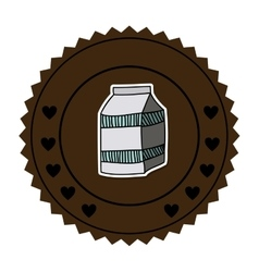 Color round frame with milk carton vector
