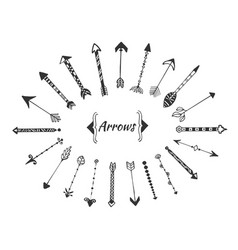 hand drawn arrows collection with ink elements vector image vector image