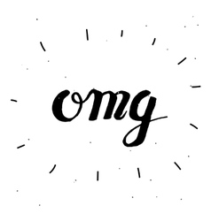 Hand-drawn word omg in black color vector