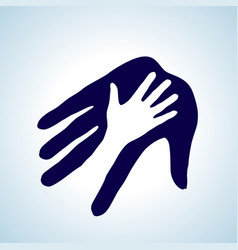 Helping hand in white and blue concept of help vector
