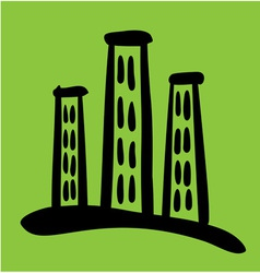 High riser house sketch on green background vector