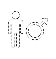 Male sign black dashed icon vector