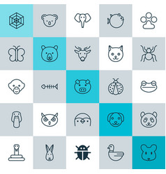 nature icons set collection of butterflyfish vector image vector image