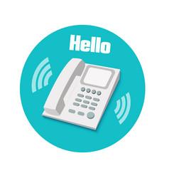Phone in flat design Landline phone vector image