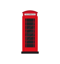 Red retro phone booth flat design vector image vector image