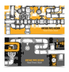 Sketch Pipes System Banners vector image vector image