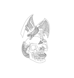 Skull with a dragon vector