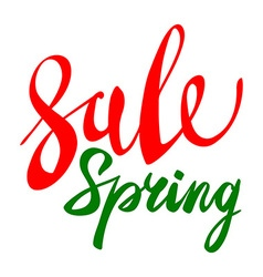 Spring sale green red elements labels and badges vector image