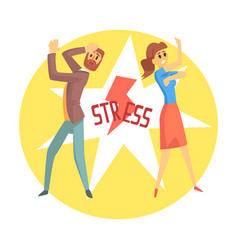 Stressed man and woman colorful cartoon character vector