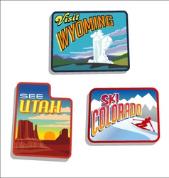 Utah Colorado Wyoming retro vector image vector image