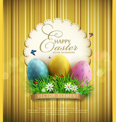 Vintage background with easter eggs green grass vector