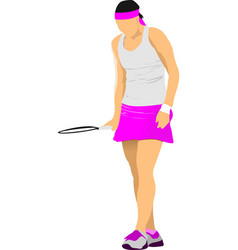 woman tennis player colored for designers vector image vector image