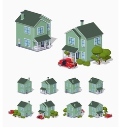 Low poly suburban house vector