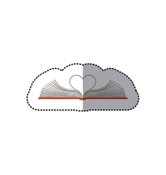 Middle shadow color sticker with open book with vector