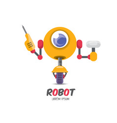 cartoon cute flat robot icon vector image