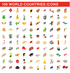 100 world countries icons set isometric 3d style vector