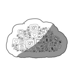 sticker silhouette pattern cloud shape formed by vector image