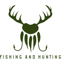 Fishing and hunting with deer hornspaw of bear and vector